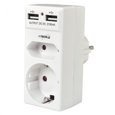 HEITECH DOUBLE SOCKET ADAPTOR WITH 2 USB CHARGING CONNECTIONS 4250040922794