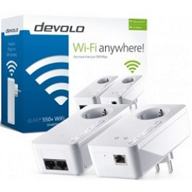 DEVOLO POWERLINE dLAN 550+ WiFi STARTER KIT (9840), 1x dLAN 550+ WiFi (WIRELESS) ADAPTER & 1x dLAN 550 DUO+ ADAPTER, dLAN 550Mbps, 3YW.