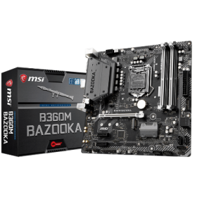MSI MB B360M BAZOOKA, SOCKET INTEL LGA1151 8th GEN, CS INTEL B360, 4 DIMM SOCKETS DDR4, DVI-D/HDMI, LAN GIGABIT, MICRO-ATX, 3YW.
