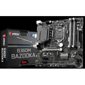 MSI MB B360M BAZOOKA, SOCKET INTEL LGA1151 8th GEN, CS INTEL B360, 4 DIMM SOCKETS DDR4, DVI-D/HDMI, LAN GIGABIT, MICRO-ATX, 3YW.