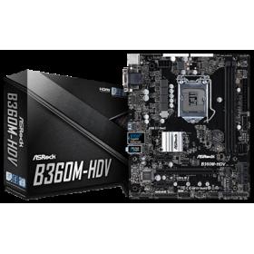 ASROCK MB B360M-HDV, SOCKET INTEL LGA1151 8th GEN, CS INTEL B360, 2 DIMM SOCKETS DDR4, D-Sub/DVI-D/HDMI, LAN GIGABIT, MICRO-ATX, 3YW.