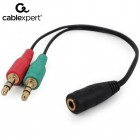CABLEXPERT 3.5 mm 4-pin SOCKET TO 2 x 3.5 mm STEREO PLUG ADAPTER CABLE, BLACK 8716309097468