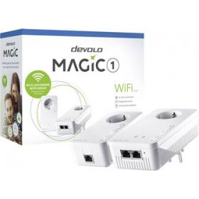 DEVOLO POWERLINE MAGIC 1 WIFI 2-1-2 EU STARTER KIT (8366), 1x MAGIC 1 LAN ADAPTER & 1x MAGIC 1 WiFi (WIRELESS) ADAPTER, 1200Mbps, SHUKO, AC POWER OUT SOCKET, 3YW.