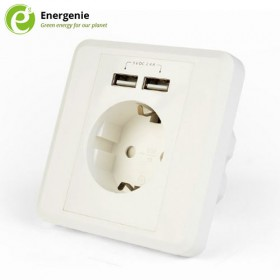 ENERGENIE AC WALL SOCKET WITH 2 PORT USB CHARGER 2,4A WHITE 8716309109253