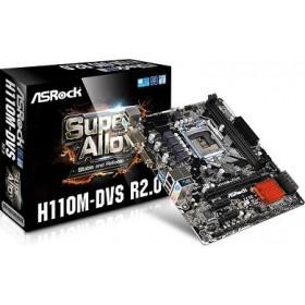 ASROCK MB H110M-DVS R2.0, SOCKET INTEL LGA1151, CS INTEL H110, 2 DIMM SOCKETS DDR4, VGA/DVI-D, LAN GIGABIT, MICRO ATX, 3YW.