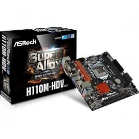 ASROCK MB H110M-HDV R3.0, SOCKET INTEL LGA1151, CS INTEL H110, 2 DIMM SOCKETS DDR4, VGA/DVI-D/HDMI, LAN GIGABIT, MICRO-ATX, 3YW.