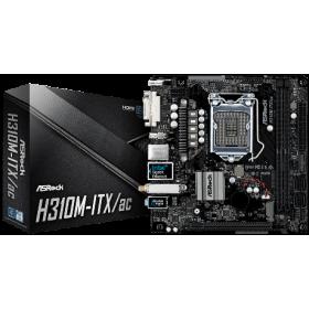 ASROCK MB H310M-ITX/AC, SOCKET INTEL LGA1151 8th GEN, CS INTEL H310, 2 DIMM SOCKETS DDR4, DVI-I/HDMI/DP v1.2, LAN GIGABIT, MINI-ITX, 3YW.