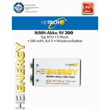 HEITECH RECHARGEABLE BATTERY 6F22/9V/E-BLOCK 200mAh 1PCS 4250040921865