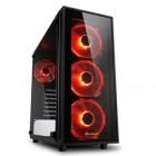 SHARKOON PC CHASSIS TG4 RED, MIDI TOWER ATX, BLACK, W/O PSU, 3x12CM FRONT RED LED FAN, 1x12CM REAR RED LED FAN, 2YW.