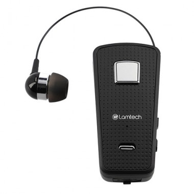 LAMTECH RETRACTABLE BT 5.0 CLIP ON HEADSET BLACK (HANGING CORD) 6956539000476
