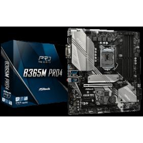 ASROCK MB B365M PRO4, SOCKET INTEL LGA1151 8th/9th GEN, CS INTEL B365, 4 DIMM SOCKETS DDR4, D-Sub/DVI-D/HDMI, LAN GIGABIT, MICRO-ATX, 2YW.