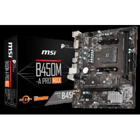 MSI MB B450M-A PRO MAX, SOCKET AMD AM4, CS AMD B450, 2 DIMM SOCKETS DDR4, DVI-D/HDMI, LAN GIGABIT, MICRO-ATX, 2YW.