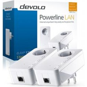 DEVOLO POWERLINE dLAN 1200+ STARTER KIT, 2x dLAN 1200+ ADAPTER, dLAN 1200Mbps, SHUKO, AC POWER OUT SOCKET, 3YW.