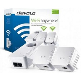 DEVOLO POWERLINE dLAN 550 WiFi NETWORK KIT (9645), 2x dLAN 550 WiFi (WIRELESS) ADAPTER & 1x dLAN 550 DUO+ ADAPTER, dLAN 550Mbps, 3YW.