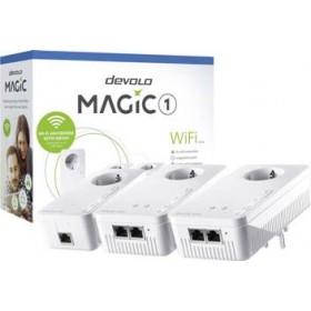 DEVOLO POWERLINE MAGIC 1 WIFI 2-1-3 EU MULTIROOM KIT (8374), 1x MAGIC 1 LAN ADAPTER & 2x MAGIC 1 WiFi (WIRELESS) ADAPTER, 1200Mbps, SHUKO, AC POWER OUT SOCKET, 3YW.