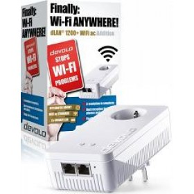 DEVOLO POWERLINE dLAN 1200+ WiFi AC SINGLE,  1x dLAN 1200+ WiFi ADAPTER, dLAN 1200Mbps, SHUKO, AC POWER OUT SOCKET, 3YW.