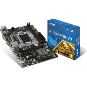 MSI MB H110M PRO-VD, SOCKET INTEL LGA1151, CS INTEL H110, 2 DIMM SOCKETS DDR4, VGA (GPU INTO CPU), LAN GIGABIT, MICRO ATX, 3YW.