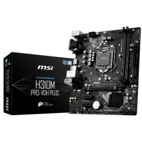 MSI MB H310M PRO-VDH PLUS, SOCKET INTEL LGA1151 8th/9th GEN, CS INTEL H310, 2 DIMM SOCKETS DDR4, VGA/DVI-D/HDMI, LAN GIGABIT, MICRO-ATX, 3YW