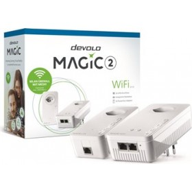 DEVOLO POWERLINE MAGIC 2 WIFI 2-1-2 EU STARTER KIT (8390), 1x MAGIC 2 LAN ADAPTER & 1x MAGIC 2 WiFi (WIRELESS) ADAPTER, 2400Mbps, SHUKO, AC POWER OUT SOCKET, 3YW.