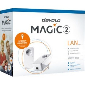 DEVOLO POWERLINE MAGIC 2 LAN 1-1-2 EU STARTER KIT (8267), 2x MAGIC 2 LAN ADAPTER, 2400Mbps, SHUKO, AC POWER OUT SOCKET, 3YW.