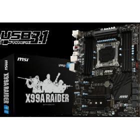 MSI MB X99A RAIDER, SOCKET INTEL LGA2011-3, CS INTEL X99 EXPRESS, 8 DIMM SOCKETS DDR4, W/O VGA, LAN INTEL i218 GIGABIT, ATX, 3YW.