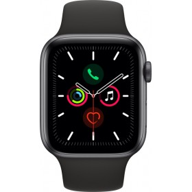 Apple Watch Series 5 GPS, 44mm Space Grey Aluminium Case with Black Sport Band - S/M & M/L (MWVF2WB/A)