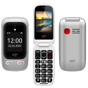 "ΚΙΝΗΤΟ NSP 2500DS FLIP 2.4"" 1.8"" DUAL SIM 2G 32MB/32MB RADIO-MP3/MP4 SOS BUTTON SILVER   HANDS FREE"