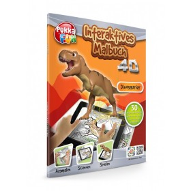PUKKA FUN Βιβλίο ζωγραφικής 4D επαυξημένης πραγματικότητας, Dinosaurs- JAMARA
