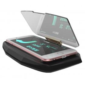 Βάση HUD Display για την προβολή οθόνης του smartphone, Μαύρη- BULK
