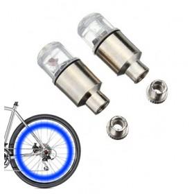 Καπάκι βαλβίδας ποδηλάτου με φως, 2 τμχ, μπλε- UNBRANDED