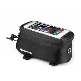 WOZINSKY Τσάντα ποδηλάτου ACC-236 με θήκη τηλεφώνου, αδιάβροχη, μαύρη- WOZINSKY