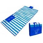 Ψάθα-τσάντα παραλίας AG366 με μαξιλάρι, αδιάβροχη, 175 x 90 cm, μπλε- UNBRANDED