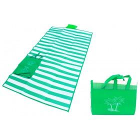 Ψάθα-τσάντα παραλίας AG366 με μαξιλάρι, αδιάβροχη, 175 x 90 cm, πράσινο- UNBRANDED