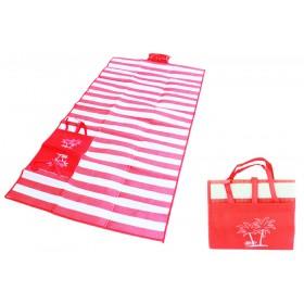 Ψάθα-τσάντα παραλίας AG366 με μαξιλάρι, αδιάβροχη, 175 x 90 cm, κόκκινο- UNBRANDED