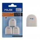 MILAN γόμα BNM10258, 28 x 30 x 13mm, σετ 3τμχ, λευκή- MILAN
