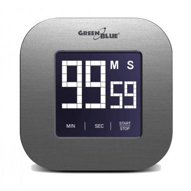 GREEN BLUE Ψηφιακό χρονόμετρο GB524, οθόνη αφής, μαγνητικό, βάση, ασημί- GREEN BLUE