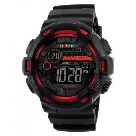 INTIME Ρολόι χειρός Chrono-01, Double time, EL φωτισμός, κόκκινο- IN TIME