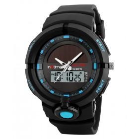 INTIME Ρολόι χειρός Solar-01, Ηλιακό, διπλή ώρα, El φωτισμός, μπλε- IN TIME