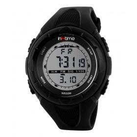 INTIME Ρολόι χειρός Chrono-03, Double time, EL φωτισμός, μαύρο- IN TIME