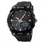 INTIME Ρολόι χειρός Solar-02, Ηλιακό, διπλή ώρα, El φωτισμός, μαύρο- IN TIME