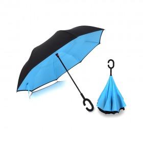 Ομπρέλα Kazbrella αντίστροφης δίπλωσης, λαβή σχήματος C, με θήκη, μπλε- UNBRANDED