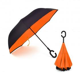 Ομπρέλα Kazbrella αντίστροφης δίπλωσης, λαβή σχήματος C, θήκη, πορτοκαλί- UNBRANDED