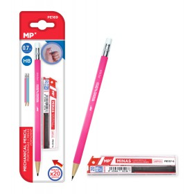 MP Mηχανικό μολύβι PE169 με γόμα, HB, 20x ανταλλακτικά, 0.7mm, ροζ- MP