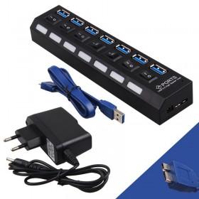 POWERTECH USB 3.0V Hub, 7 Port, On-Off + Μετασχηματιστής ρεύματος- POWERTECH
