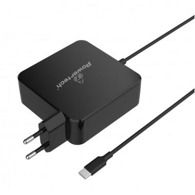 POWERTECH Φορτιστής laptop PT-703, USB Type C PD, Universal, 65W, μαύρο- POWERTECH