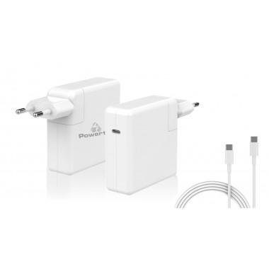 POWERTECH Φορτιστής laptop PT-704 για Apple, USB Type C PD, 61W, λευκό- POWERTECH