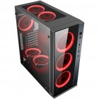 POWERTECH Gaming case PT-903, tempered glass, 4x Dual ring RGB fans- POWERTECH