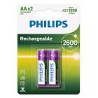 PHILIPS επαναφορτιζόμενη μπαταρία R6B2A260 2600mAh, AA HR6 Mignon, 2τμχ- PHILIPS