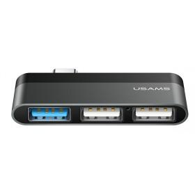 USAMS USB Type-C hub SJ461, 1x USB 3.0, 2x USB 2.0, γκρι- USAMS