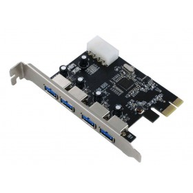 POWERTECH Κάρτα Επέκτασης PCI-e to USB 3.0, 4 ports, Chipset VL805- POWERTECH